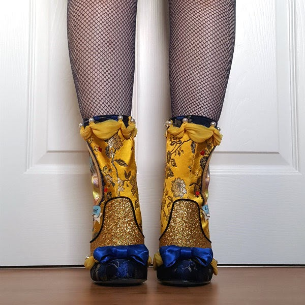 floral jacquard fabric boots with blue bows and gold glitter and drapes and pearls