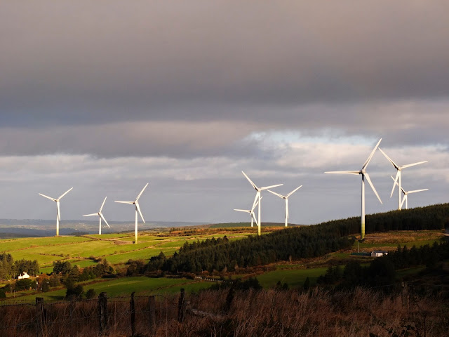 Landscape photo of the Boggeragh Mountains Windturbine farm in Co.Cork.