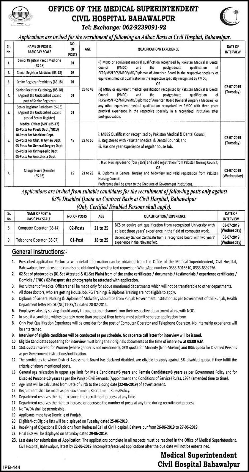 Multiple Jobs in Civil Hospital Bahawalpur June 2019