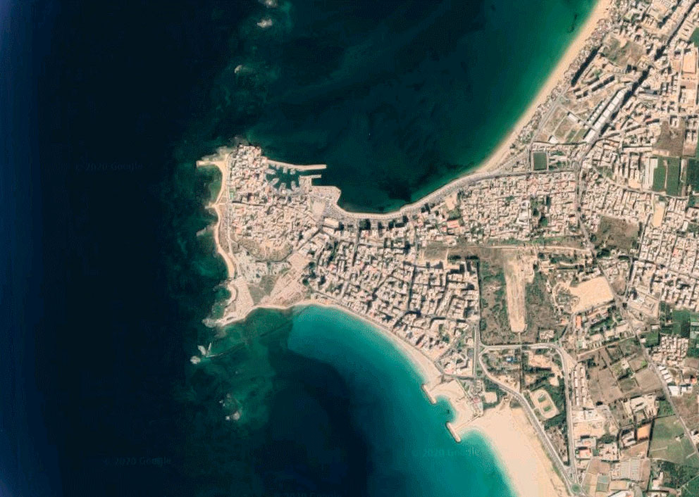Satellite view of the city of Tyre.
