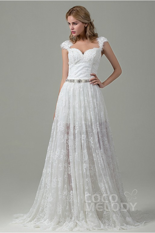 Charming Sheath-Column Queen Anne Train Lace Ivory Zipper With Button Wedding Dress