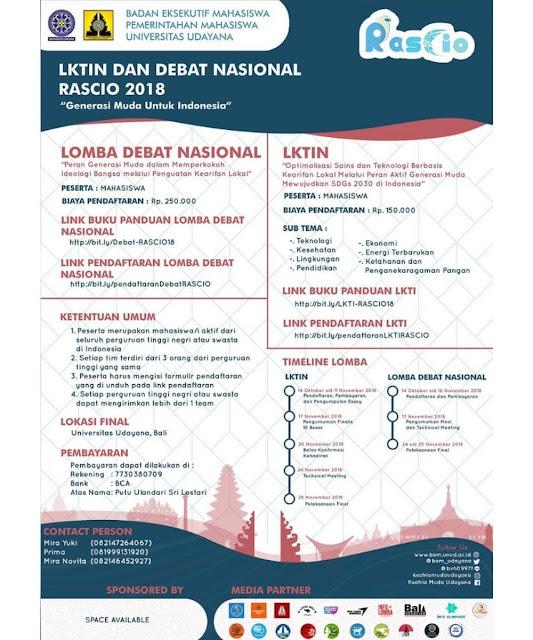 Lomba LKTIN & Debat Nasional RASCIO 2018 Mahasiswa