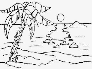 Sketsa Gambar Mewarnai Pemandangan Alam Pantai 2