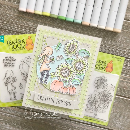 Grateful for You Card by Amy Tsuruta | Sunflower Days, Pumpkin Latte, and Fall-ing for You Stamp Sets by Newton's Nook Designs #newtonsnook