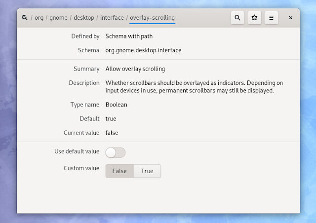 Gnome 3.34 Dconf Editor overlay scrollbars settings