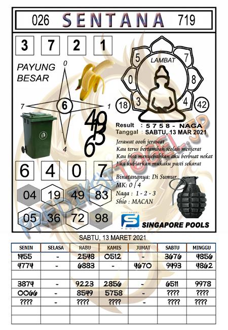 Syair Sentana SGP Sabtu 13-Mar-2021