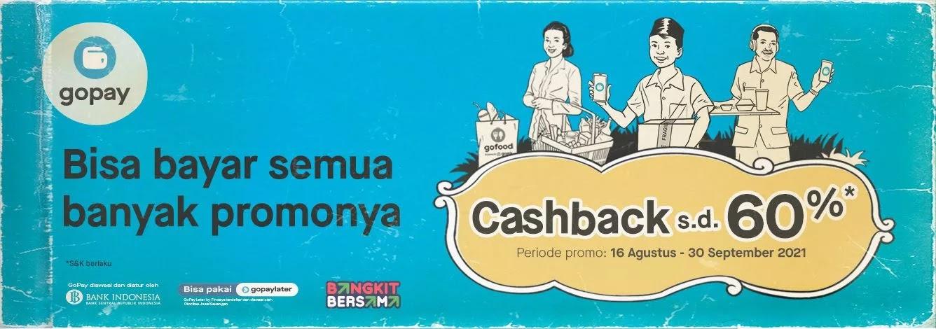 Promo Cashbak Hingga 60% GOPAY Di Merchant Pavorit (s.d 30 September 2021)