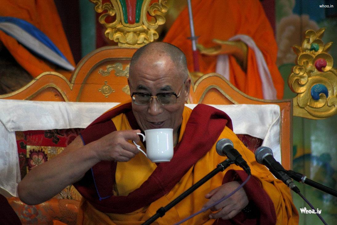 Dalai Lama With Cup Of Tea   Wallpapers image