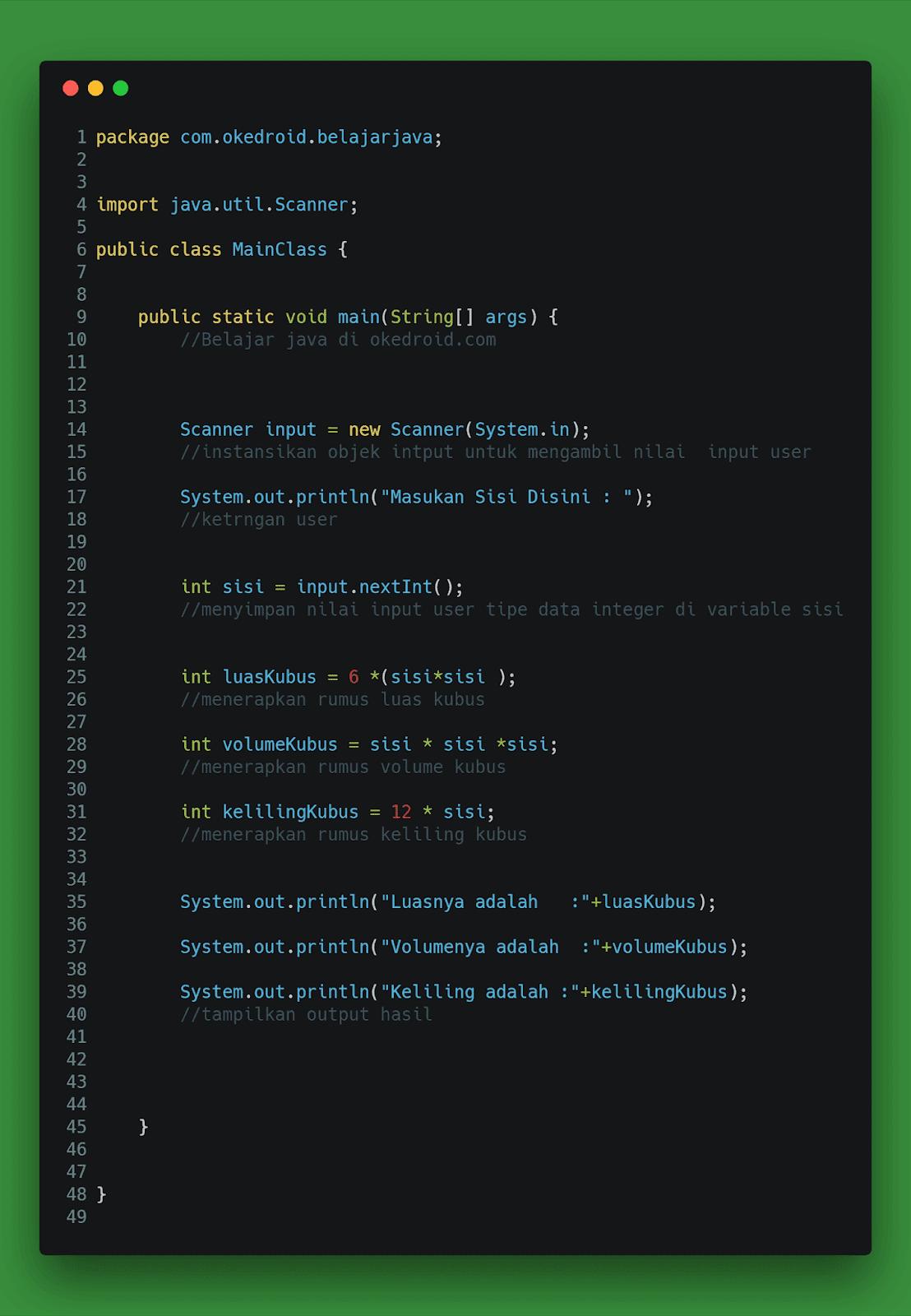 Contoh Code Program Menghitung Luas ,Volume dan Keliling Kubus di Java