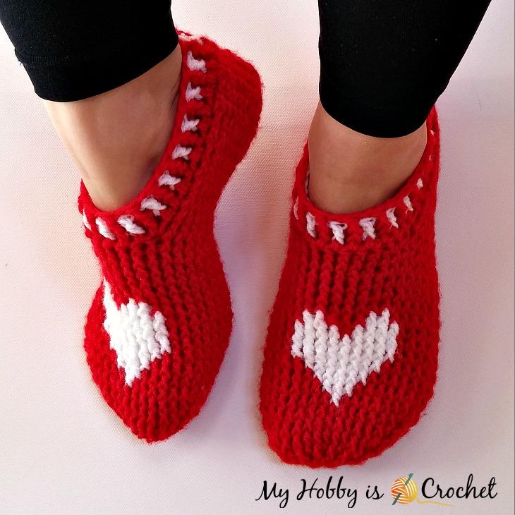 My Hobby Is Crochet Heart Sole Slippers Women Size Free