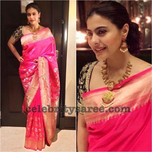 Kajol Pink Silk Saree