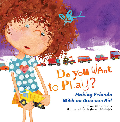 Cover of the book Do You Want to Play: Making Friends With an Autistic Kid. The background is purple on the top and white on the bottom. On the left is a large illustration of white kid with short curly red hair bedecked  with a  blue bow, holding a yellow toy dump truck, and looking at the viewer