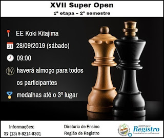 1ª etapa do XVII Super Open de Xadrez será neste sábado, dia 28