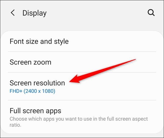 """Samsung Galaxy S20 اضغط على زر """"دقة الشاشة"""""""
