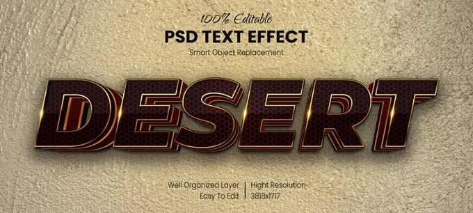 Desert PSD Text Effect mockup