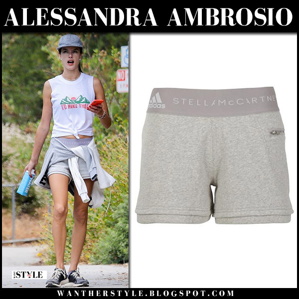 Alessandra Ambrosio in white top and grey shorts adidas model workout style may 26