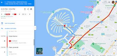 Palm Jumeirah Island Directions from Dubai Marina  Metro