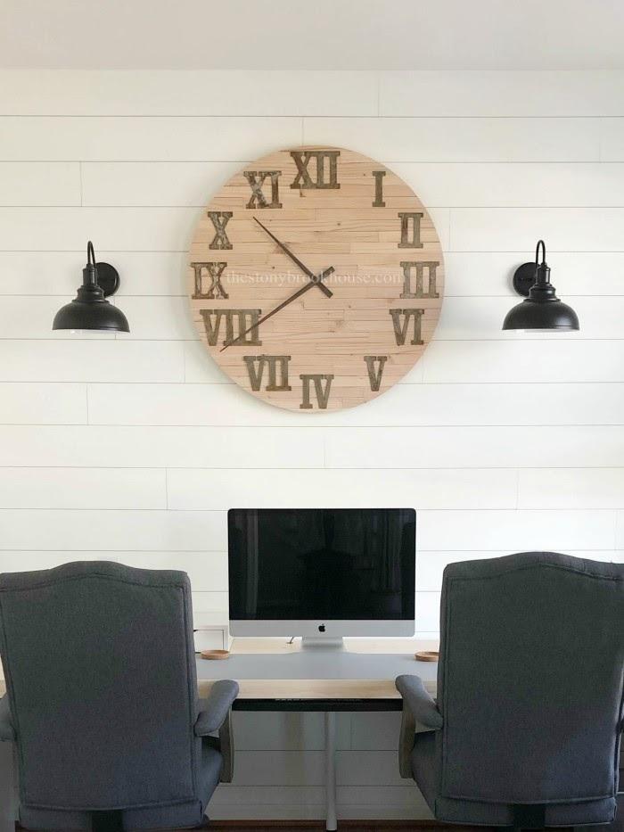 Large Skinny Shiplap Wall Clock