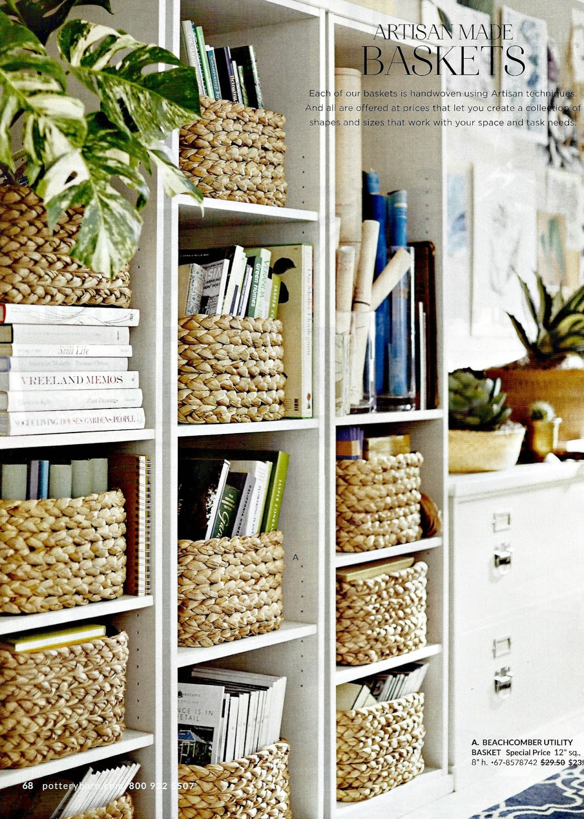 baskets in bookcases