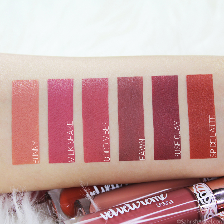 New Velvet Creme Matte Liquid Lipstick Shades by Breena Beauty - Arm & Lip Swatches