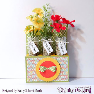 Divinity Designs Stamp Set: Treat Tag Sentiments 3, Custom Dies: Test Tube Trio,  Scalloped Circles, Circles, Paper Collections: Birthday Bash, Birthday Brights, Test Tubes Small