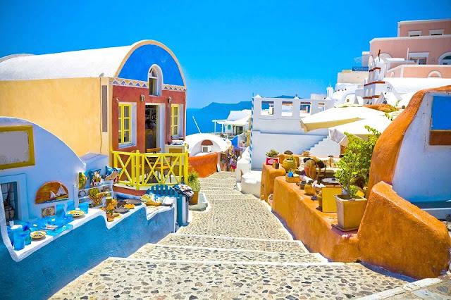Pontos turísticos em Santorini, Grécia