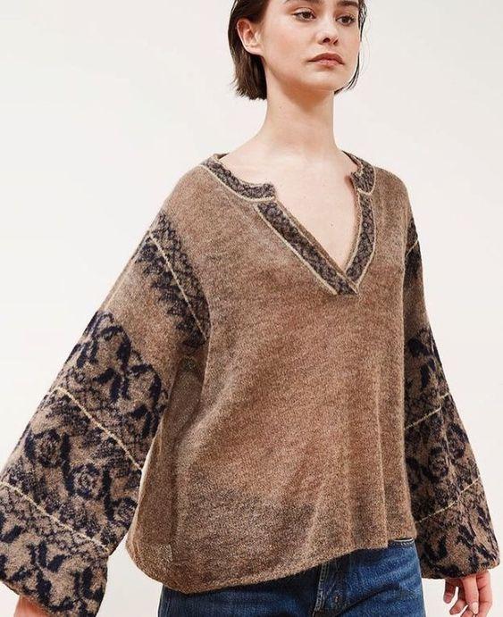 sweter z żakardem