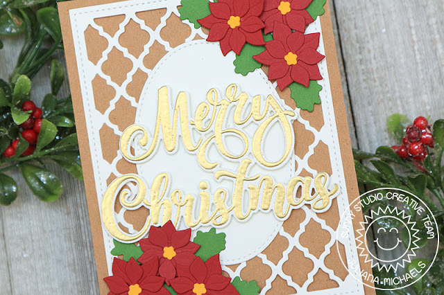 Sunny Studio Stamps: Frilly Frame Dies Season's Greetings Stitched Oval Dies Christmas Card by Juliana Michaels
