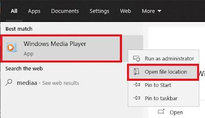 Seperti yang telah Gremenmania jelaskan tadi, kita perlu mengetahui nama file aplikasi yang akan dibuka terlebih dahulu. Caranya, Sobat cari aplikasinya pada menu pencarian, lalu klik kanan dan pilih More/Open File Location.