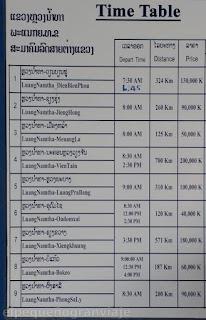 Horarios, precios, tarifas, buses, Luang Namtha