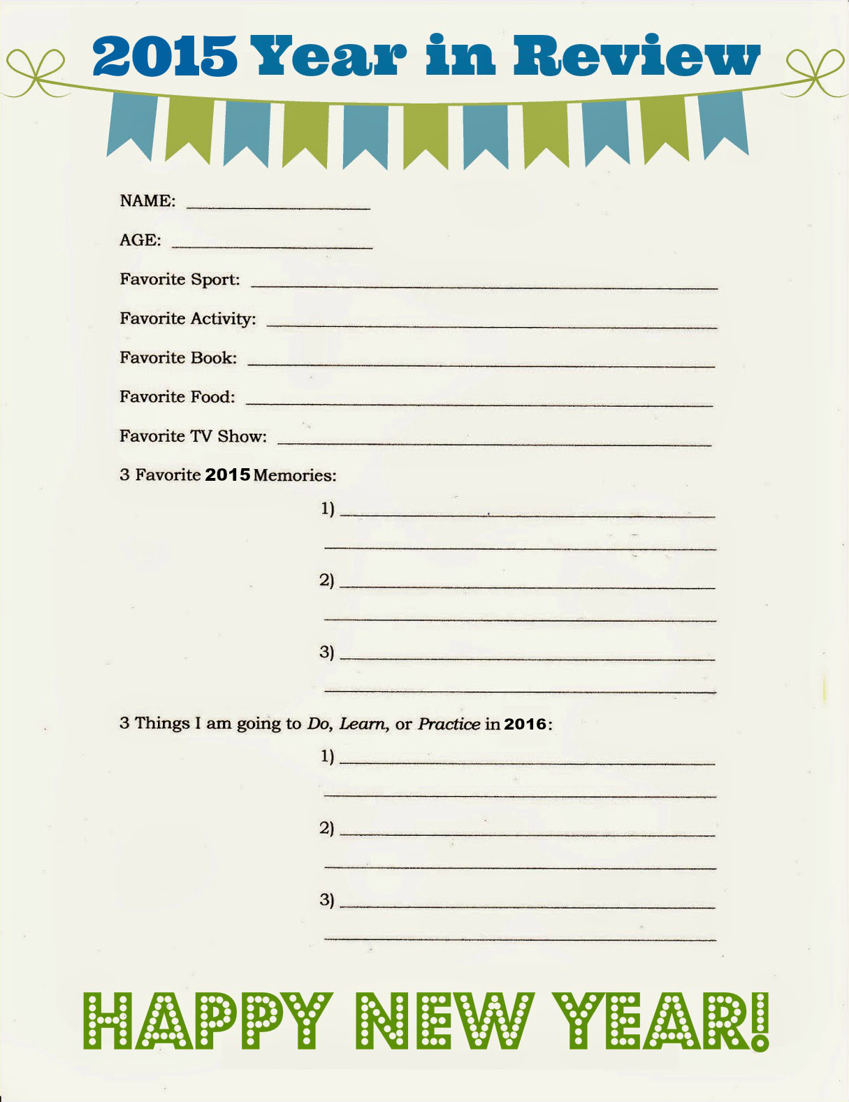 East Coast Mommy Year In Review Free Printable