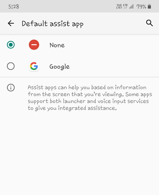 Set default assistant app to none