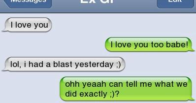 I love you. I love you too babe! lol, i had a blast ...