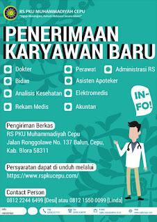 Lowongan Kerja Perawat, Bidan, ATLM, Asisten Apoteker, Rekam Medis, Elektro Medis di RS PKU Muhammadiyah Cepu