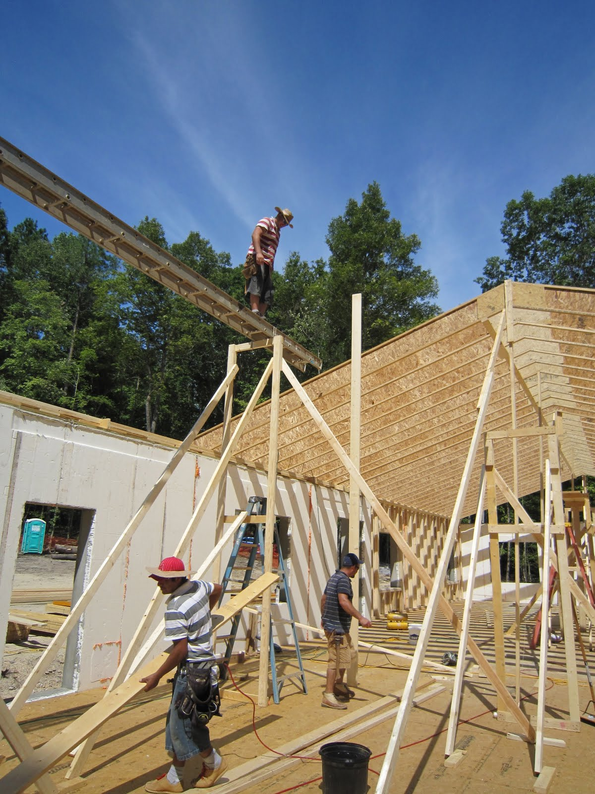 North Carolina Passive House Roof Joists Up On Over Half