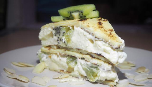 RESIPI MUDAH LEMPENG KIWI CHEESE CAKE