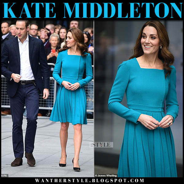 Kate Middleton in teal pleated mini dress emilia wickstead and black pumps jimmy choo romy royal family fashion november 15