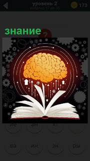 На столе лежит раскрытая книга из которой черпает знание наш мозг