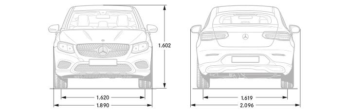 disegno tecnico quotato misure e dimensioni mercedes glc coupè