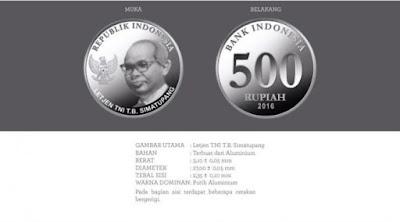 Uang rupiah baru pecahan Rp 500 logam
