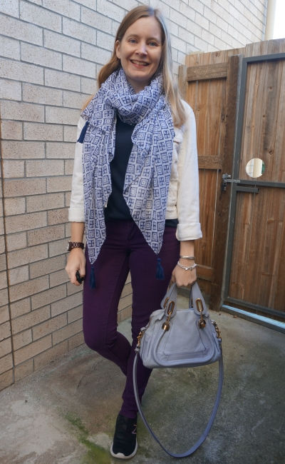 navy and purple double denim jeans outfit with white jacket printed scarf and chloe paraty bag   awayfromblue