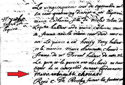 Baptism record of Marie Catherine Jolive 1697