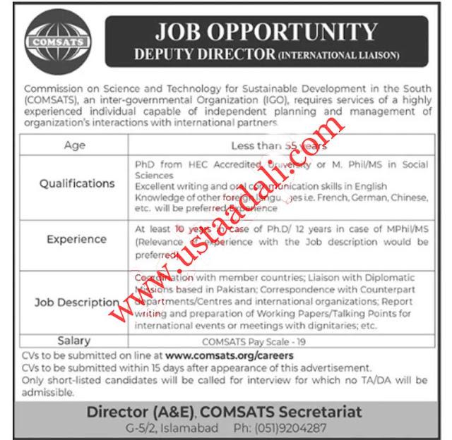 Deputy Director Jobs in Pakistan