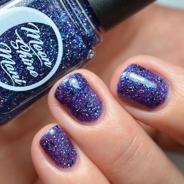 purple glitter nail polish swatch
