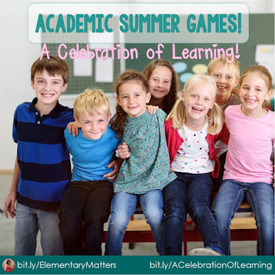 Academic Summer Games! I love to keep the kids busy by adding a little bit of friendly competition at the end of the school year. This post gives plenty of fun ideas on how to do this!
