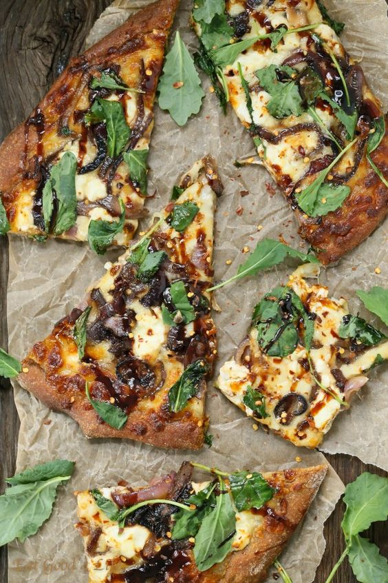 CARAMELIZED ONION KALE GOAT CHEESE PIZZA WITH BALSAMIC DRIZZLE #recipes #pizza #pizzarecipe #food #foodporn #healthy #yummy #instafood #foodie #delicious #dinner #breakfast #dessert #lunch #vegan #cake #eatclean #homemade #diet #healthyfood #cleaneating #foodstagram