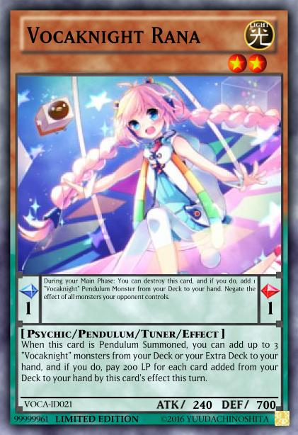 graphic about Printable Yugioh Card identified as Fanmade Yu-Gi-Oh! card: [M] Vocaknight Rana