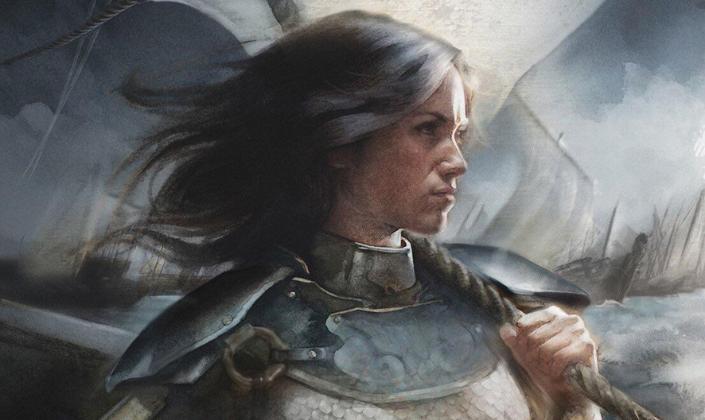Imagem de capa: ilustração de Nymeria, uma mulher de cabelos pretos e pele clara, com uma armadura, segurando firme uma corda em um navio, com outras velas de navios ao fundo.