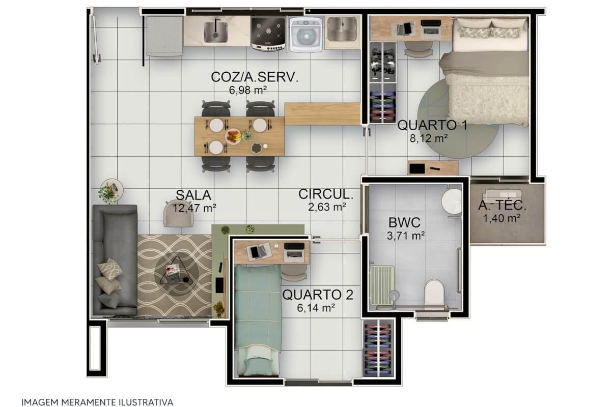 Apartamento 2 quartos no Residencial Tiradentes