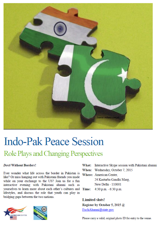 Indo Pak Peace Session to be held at the American Center
